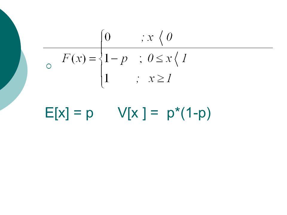 E[x] = p V[x ] = p*(1-p)